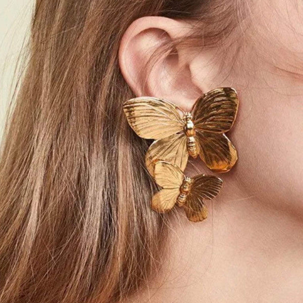 Gold Double Butterfly Post Backing Statement Earrings