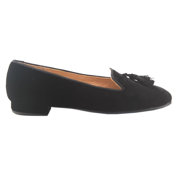 Eloise Classic Black Quilted Velvet Loafer by French Sol