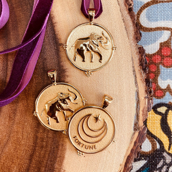 Exclusive Gold Coin Fortune Elephant Pendanct Necklace by Jane Win