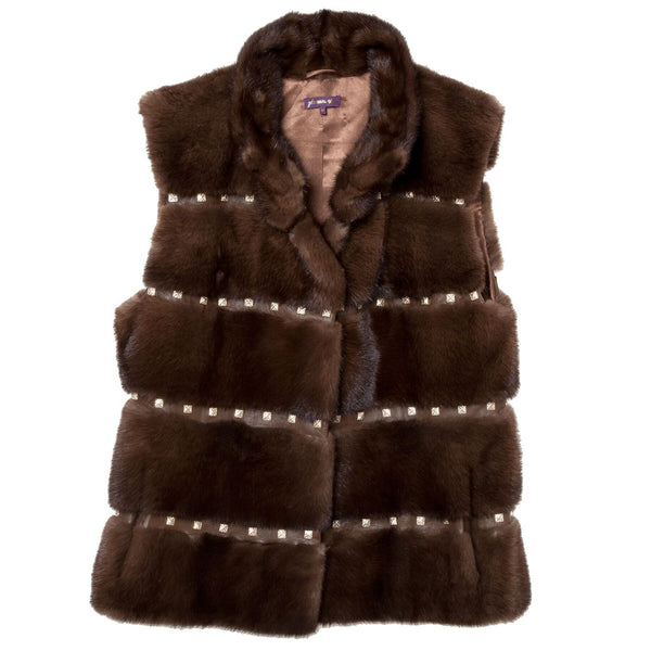 Stand Collar Mink Vest with Leather and Studs