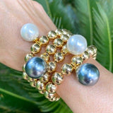14k Gold Filled Ball Stretch Bracelet with Large Pearl