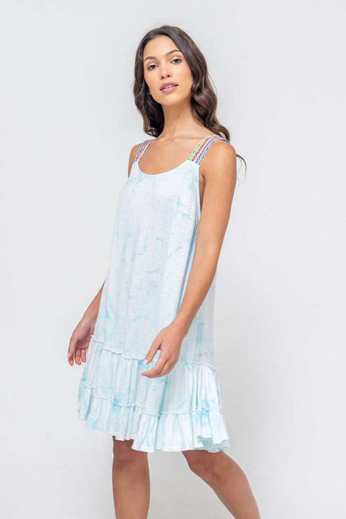 Tie-Dye Gathered Mini Dress by Pitusa