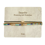 Gem Birthstone Bracelet With Pull-tie Closure