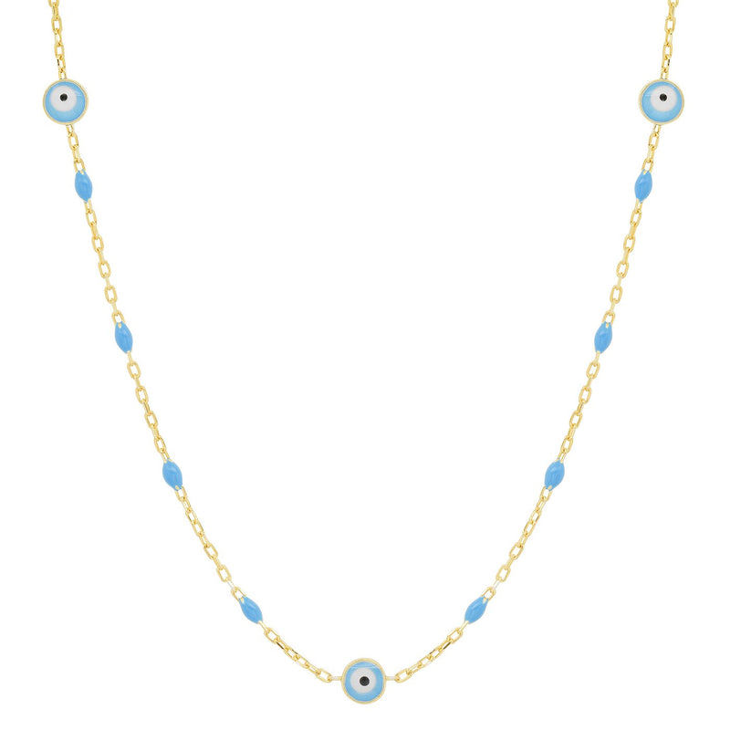 Beaded Enamel Evil Eye Necklace by Tai