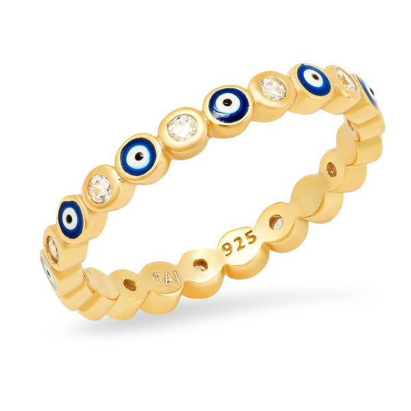 Eternity Enamel Evil Eye Cz Ring