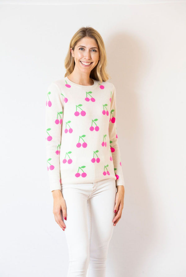 Cherry Print Cashmere Crewneck Sweater by Two Bees