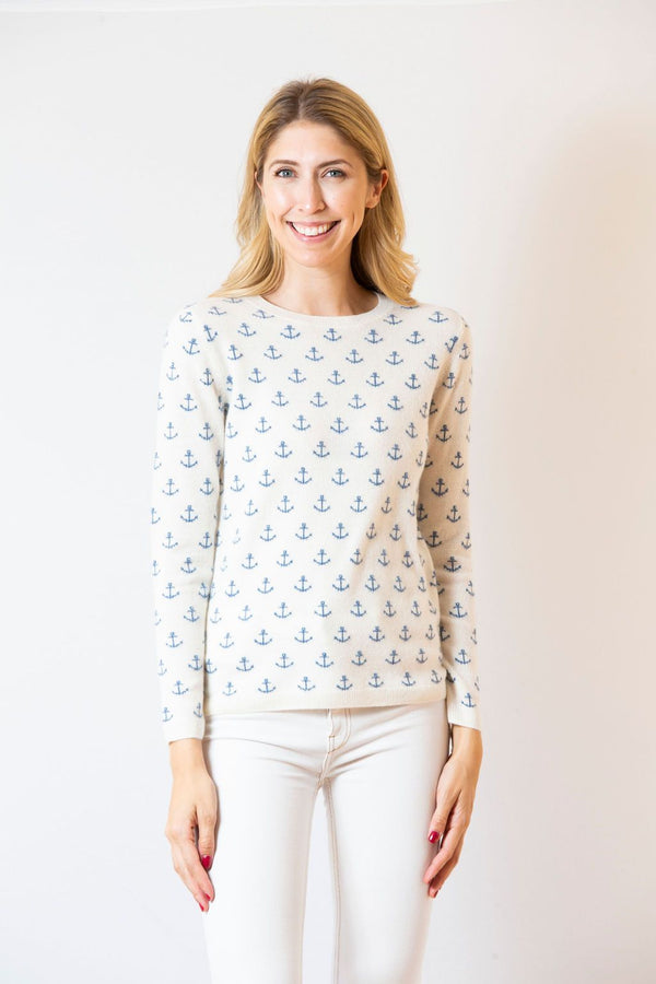 Anchor Print Crewneck Sweater | Ivory & Denim