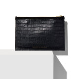 Black Croco Small Half Tote by Ampersand As Apostrophe