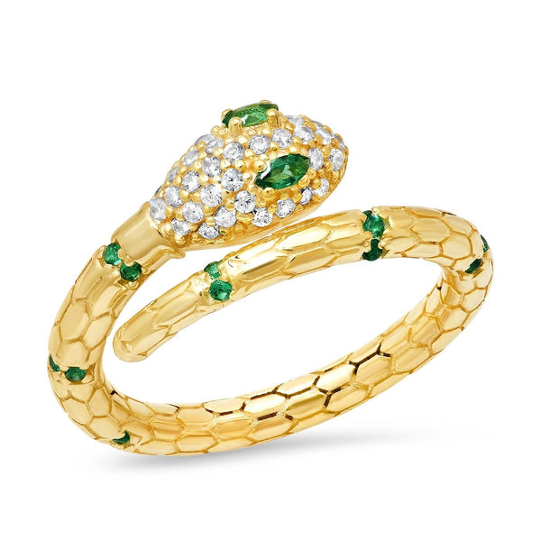 Emerald and CZ Encrusted Snake Ring