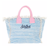 Bonjour St. Barth Embroidered Canvas Striped Bag