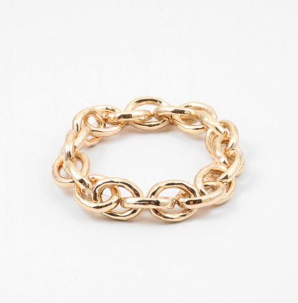 Large Grooved Stretch Link Chain Bracelet SALE