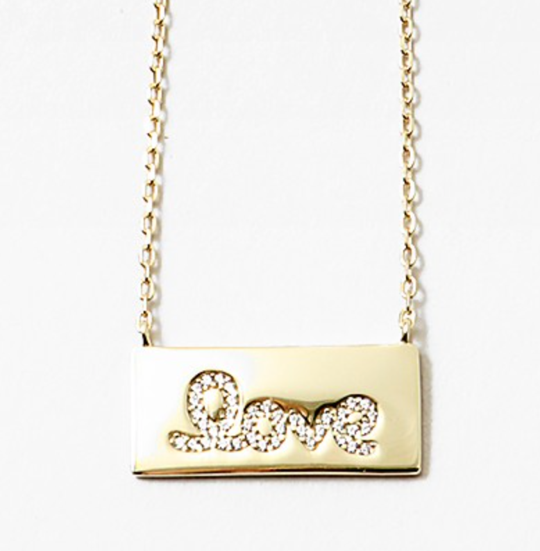 CZ Love Bar Tag Necklace SALE