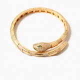 Pave Snake Green Eyes Twist Flex Bracelet SALE