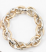 Large Grooved Stretch Link Chain Bracelet