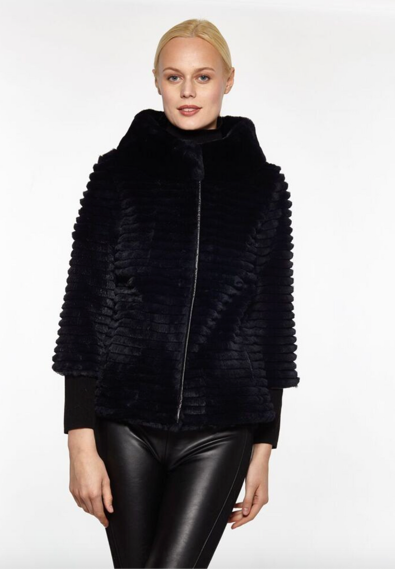Ribbed Fur Rex Rabbit Cropped Sleeve Jacket SALE