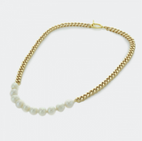 Curb Chain Necklace with Freshwater Pearls