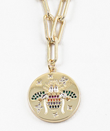 Rainbow Cubic Zirconia Butterfly Disk Pendant Necklace