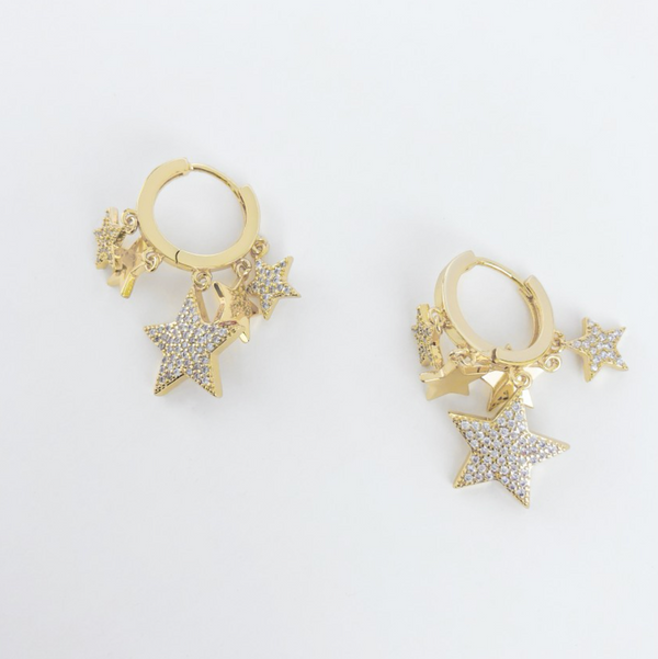 Round Hoop Earrings with Dangling Stars