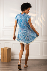 Sasha Mini Dress in Blue Hortensia