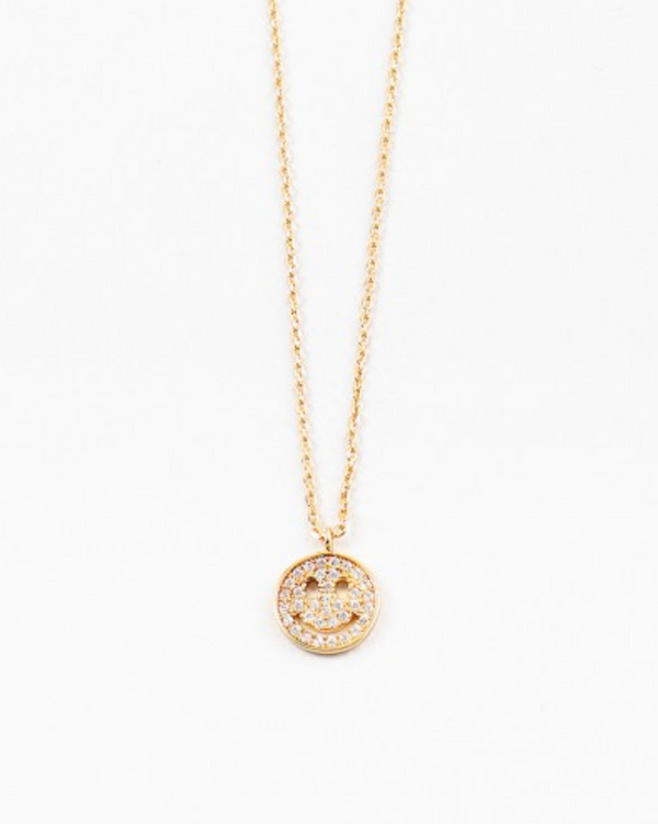 Delicate Pave Cz Smiley Face Necklace