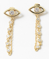 Cz Evil Eye Drop chain Earrings