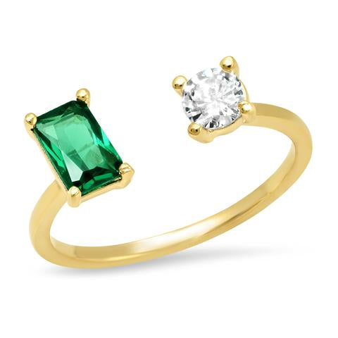 Emerald and Cz Open Ring