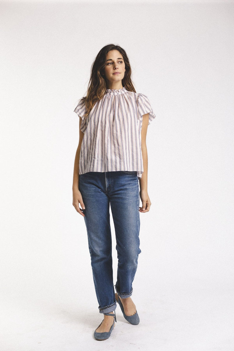 Ruffle Stand Up Collar with Wide Ruffled Sleeves