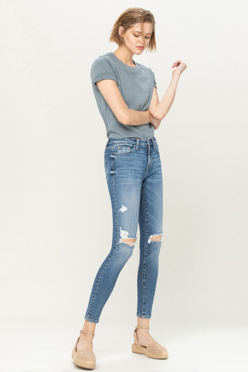 High Rise Distressed Ankle Skinny Jeans by Flying Monkey