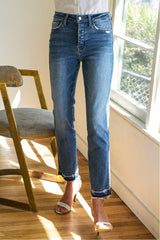 High Rise Hidden Button up Released Hem Ankle Straight Denim Jean