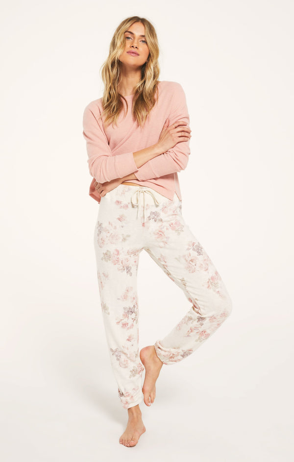 Cozy Knit fabric Lounge Floral Jogger Pant