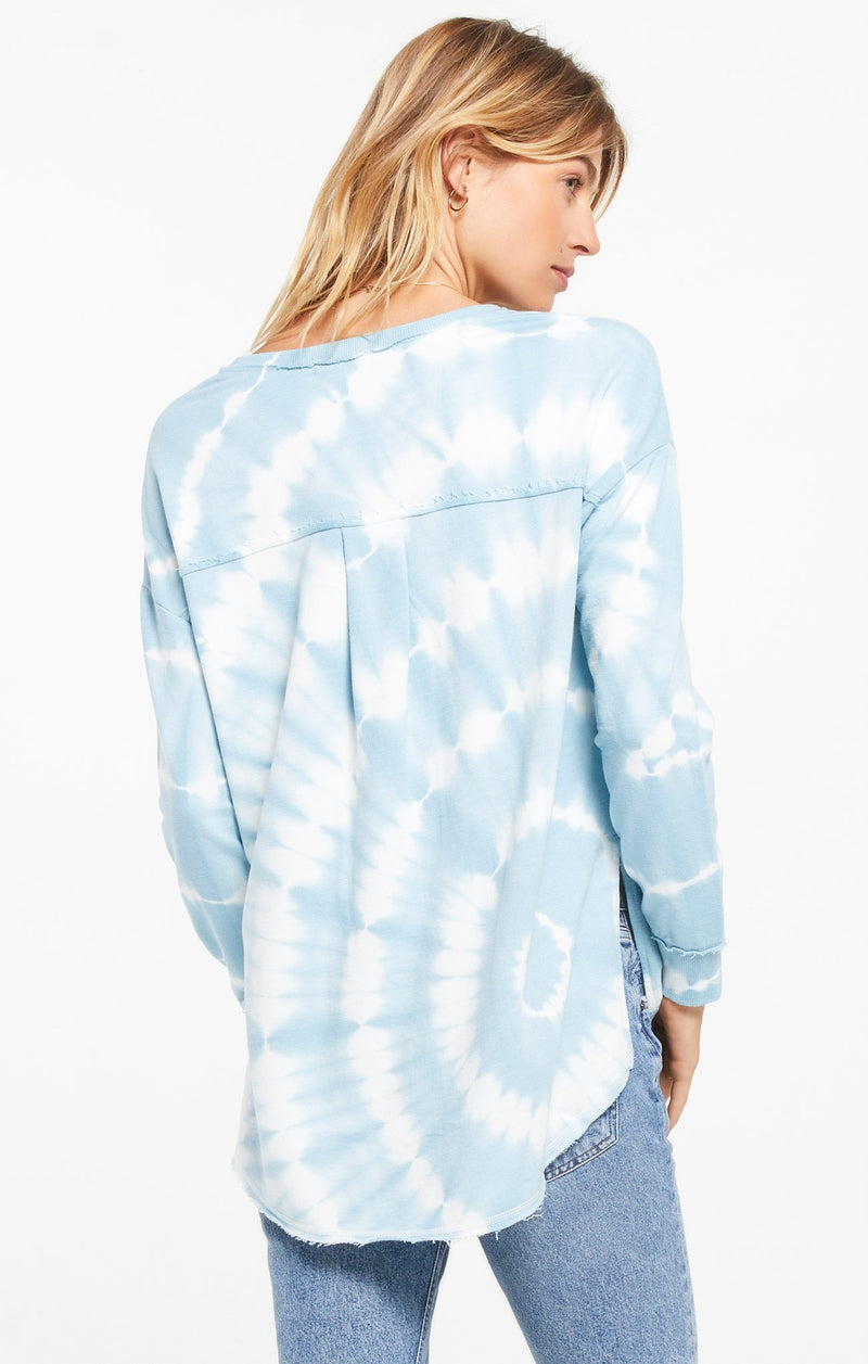 V-Neck Spiral Tie Dye French Terry Sweatshirt by Z Supply