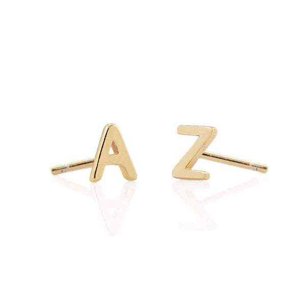 Initial Stud Solid 14Kt Gold Earring