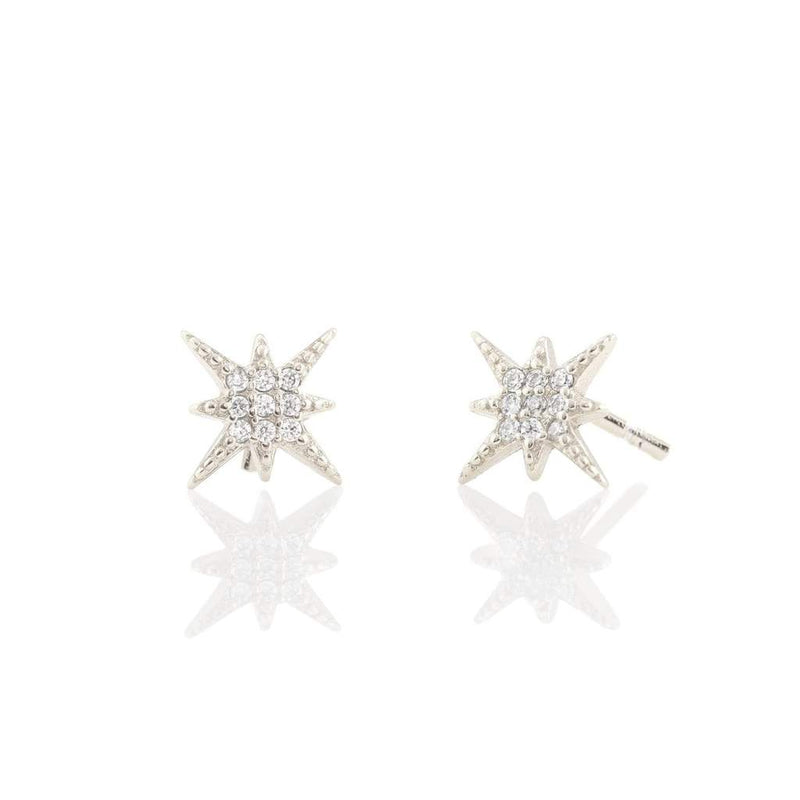 Pave Cz Starburst Vermeil Stud Earrings