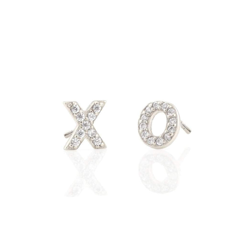 Pave Cz XO Vermeil Stud Earrings