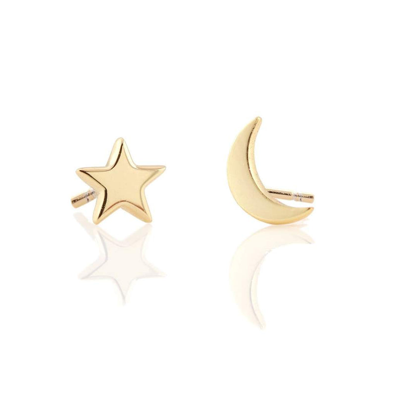 Crescent Moon and Star Stud Earring