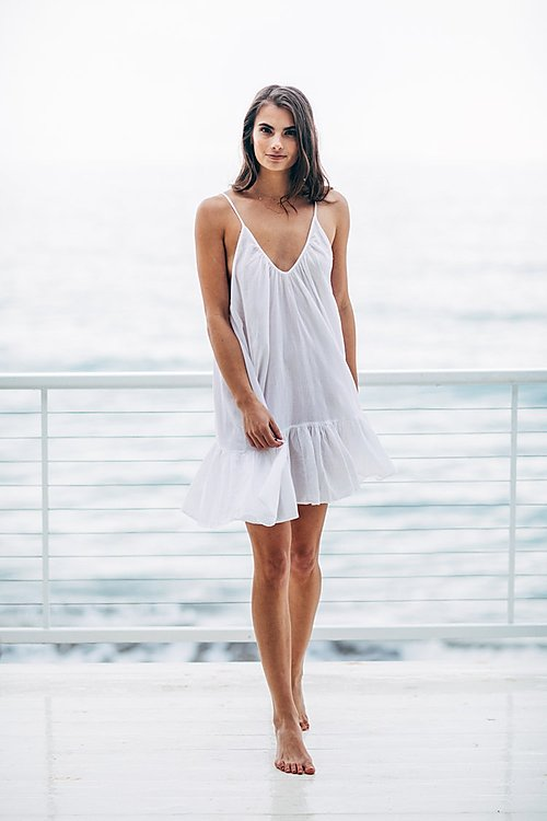 St Tropez Short Gauze Ruffel Mini Cover-up by 9Seed