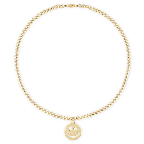 4MM Bead Ball Necklace with Gold Smiley Face