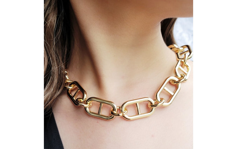 Oversized Anchor Chain Link Necklace