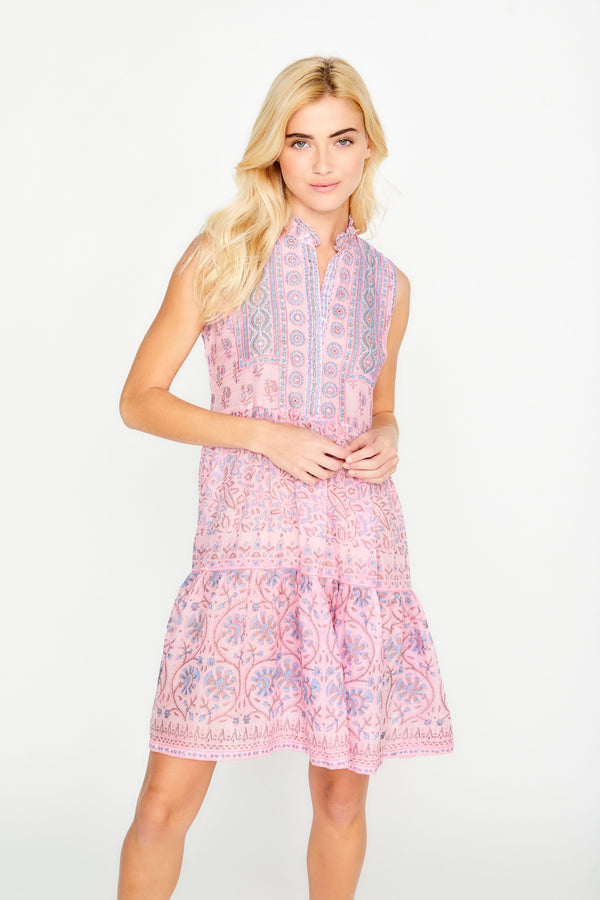 Cora Tiered Hand Block Printed Dress by Bella Tu