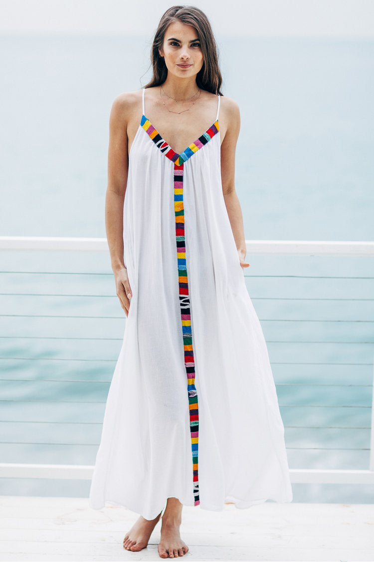 Portofino Embroidered Gauze Maxi Cover-Up Dress by 9Seed