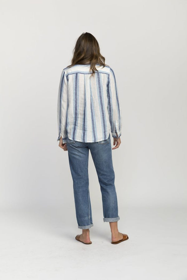 Trina Bib-Front Henley Shirt Blue Chambray Wide Stripe