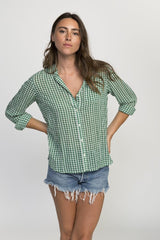 Green Gingham Check Classic Shirt