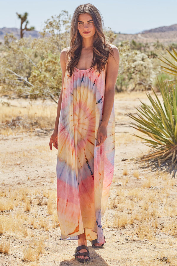 Tulum Spiral Tie-Dye Low Back Gauze Maxi Dress by 9Seed