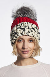 Red White and Black Color block Beanie with Silver Fox Pom by Mischa Lampert