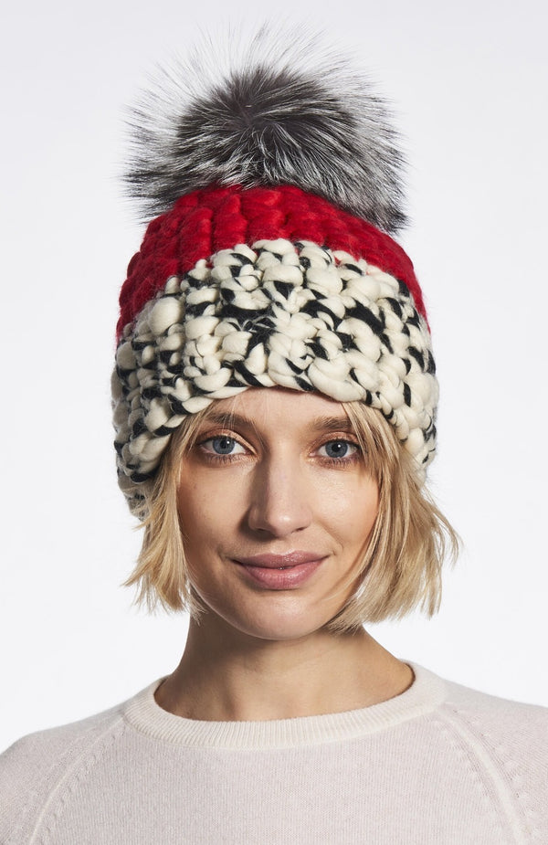 Red White and Black Color block Beanie with Silver Fox Pom by Mischa Lampert SALE