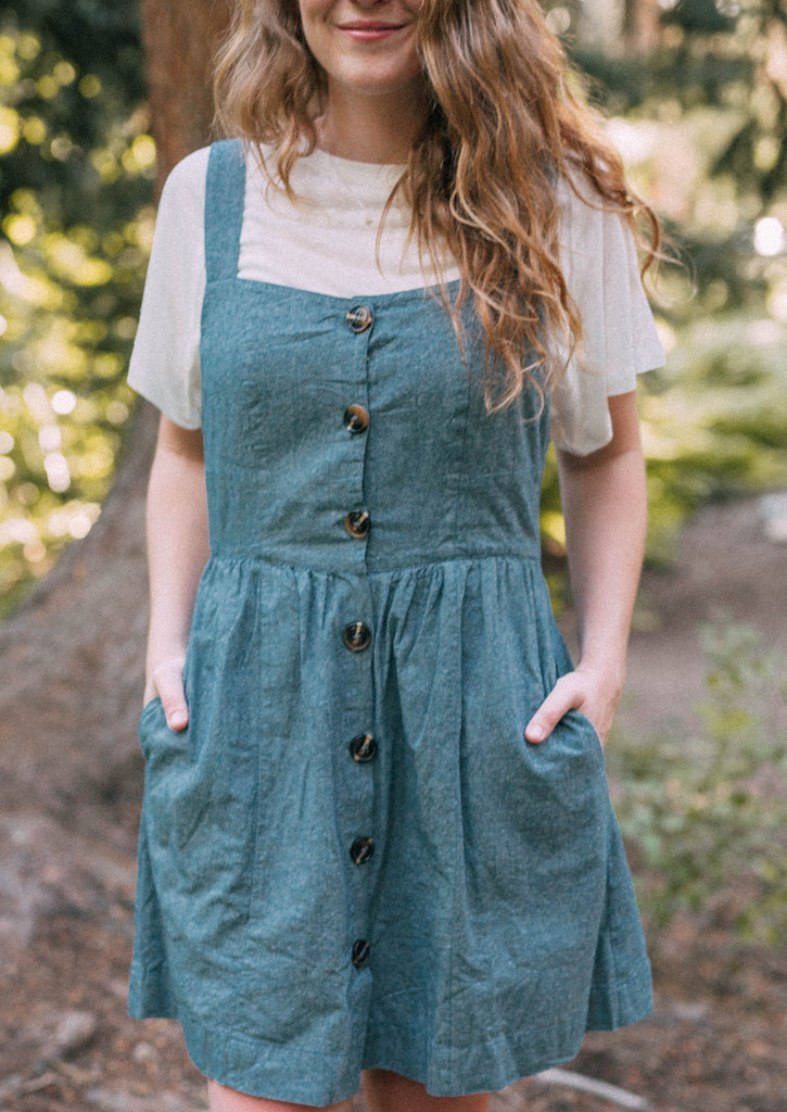 frolicking through the castle dress in denim