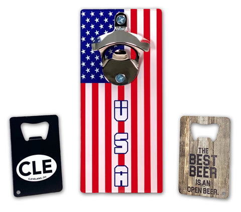 USA magnetic bottle opener and two wallet bottle openers