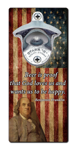 Ben Franklin Beer Quote - Magnetic Bottle Opener