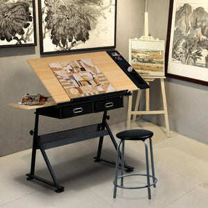 Adjustable Drafting Desk w/2 Storage Drawers and Stool