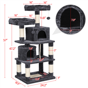 57-inch Multi Level Cat Tree For Large Cats